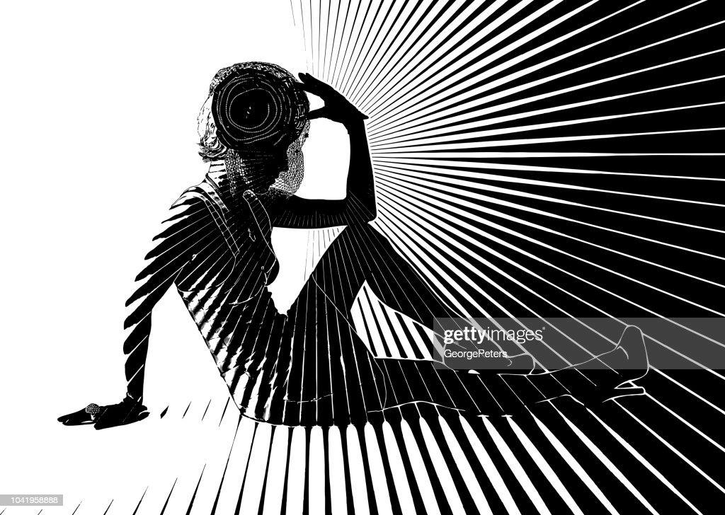 Vintage Fashion Diva with vector sun burst : stock illustration