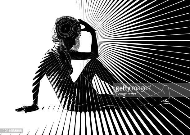 Vintage Fashion Diva with vector sun burst