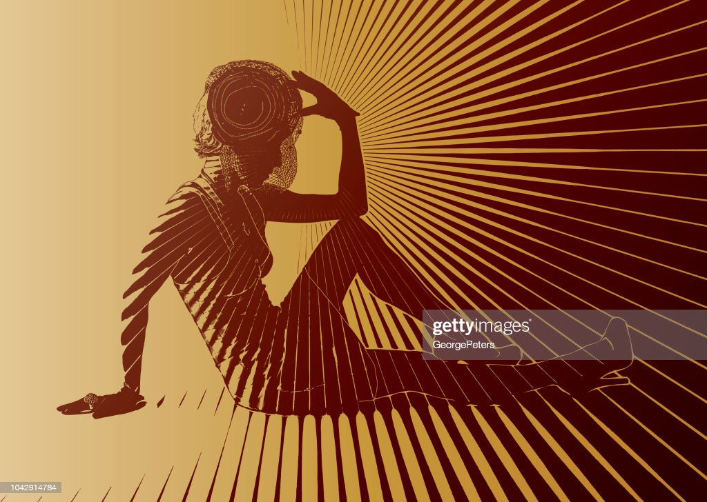 Vintage Fashion Diva with vector sun burst : stock illustration