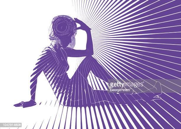 ilustrações de stock, clip art, desenhos animados e ícones de vintage fashion diva with vector sun burst - mulher fatal