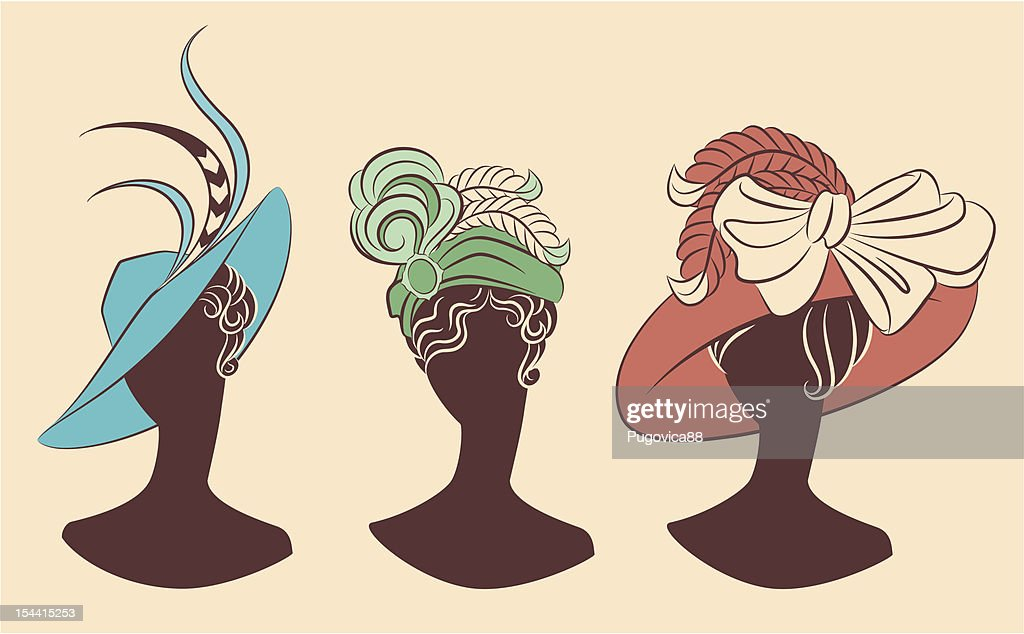 Vintage fashion girl in hat. Vector set