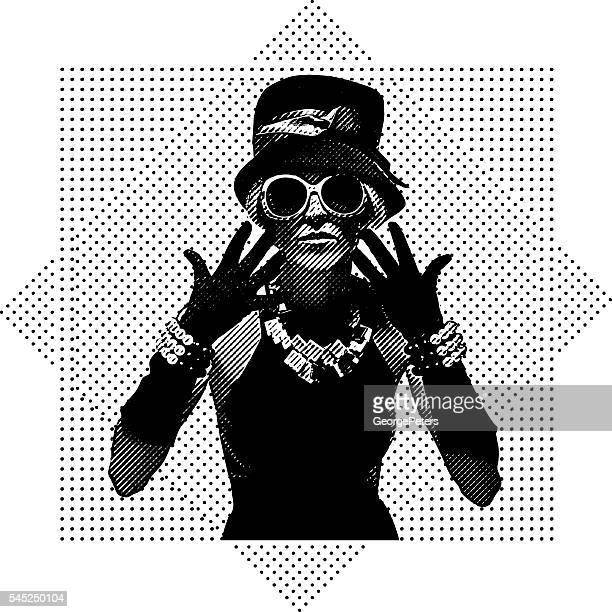 vintage fashion model dressed for clubbing - eccentric stock illustrations