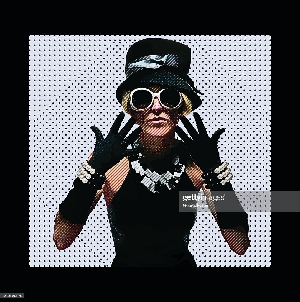 Vintage fashion model dressed for clubbing : stock illustration