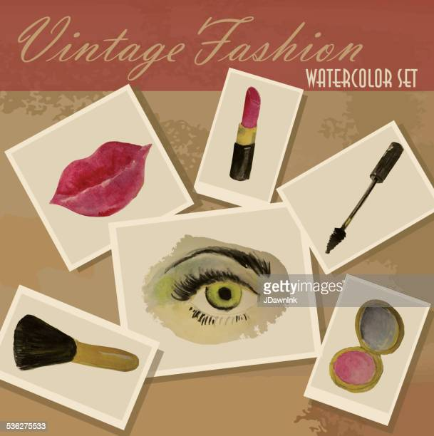 Vintage fashion watercolor set