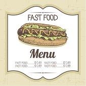 Vintage fast food background