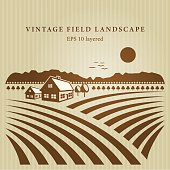 Vintage field landscape