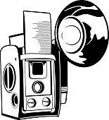 Vintage film camera illustration