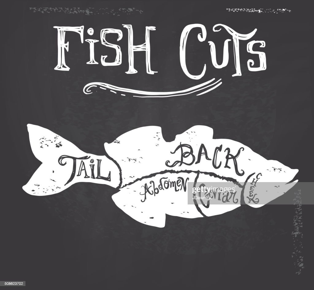 Vintage fish meat cuts butcher diagram : Vector Art