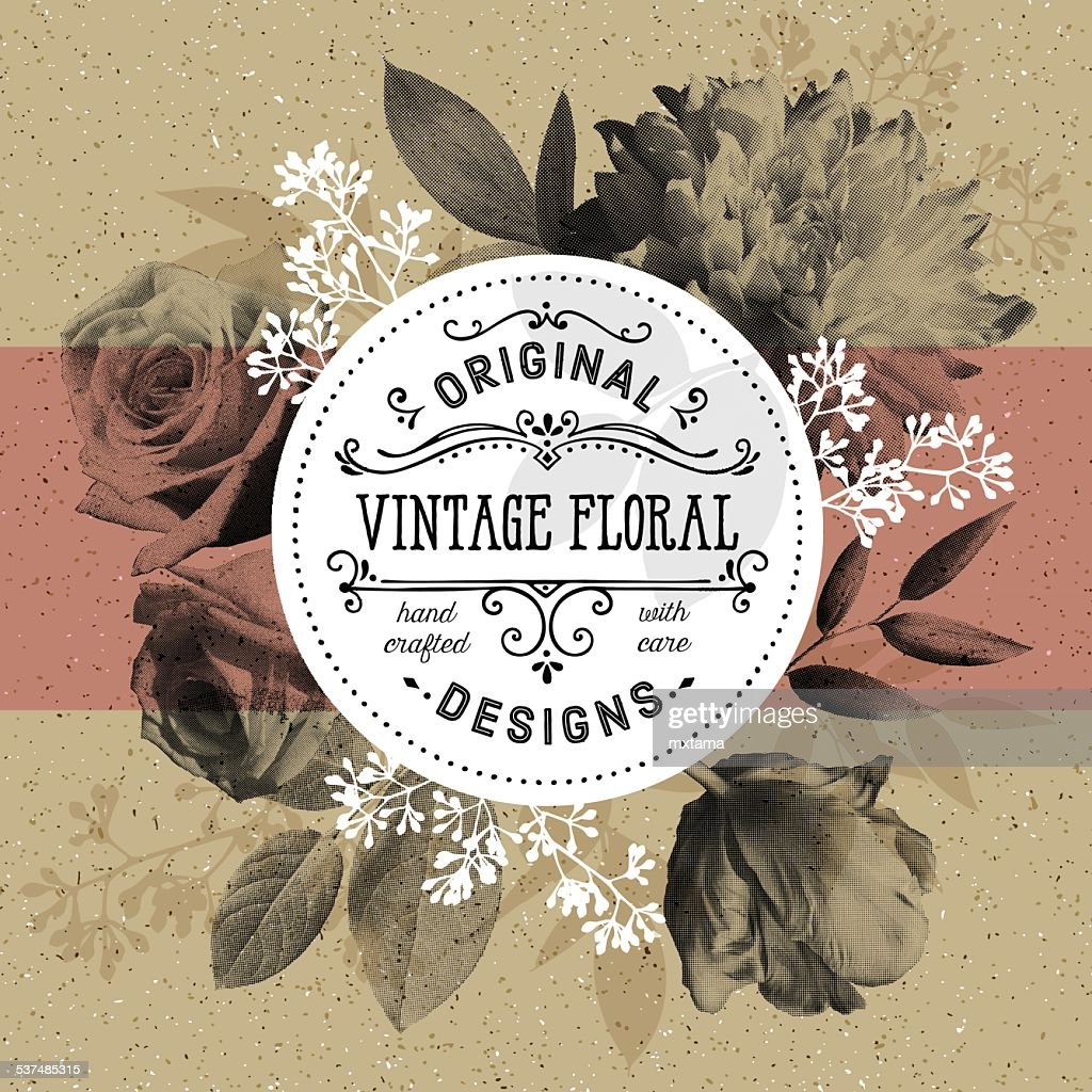 Vintage Floral and Modern Circle Frame Over Craft Paper Background