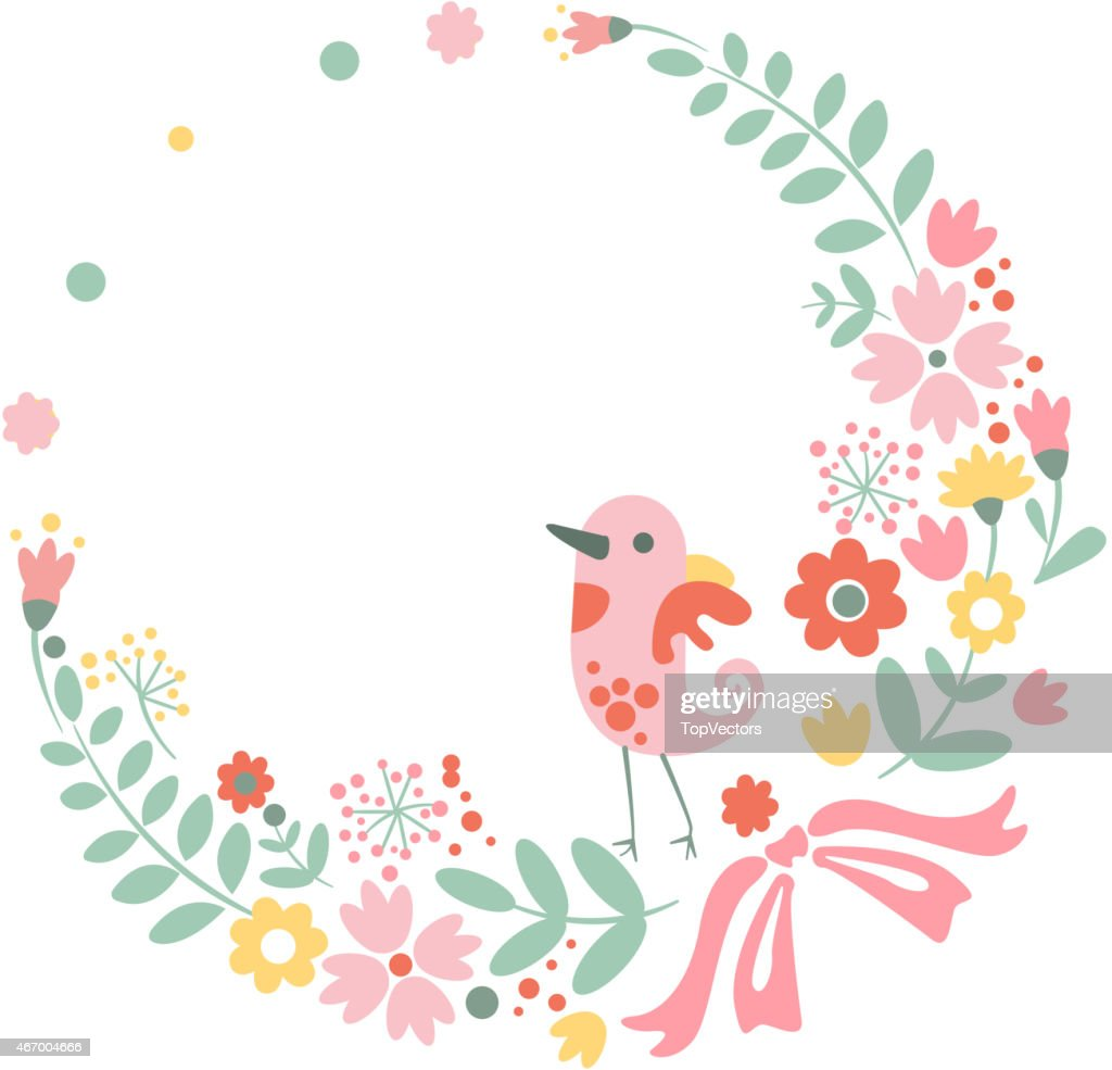 Vintage Floral Background With Cute Bird In Pastel Colors High Res