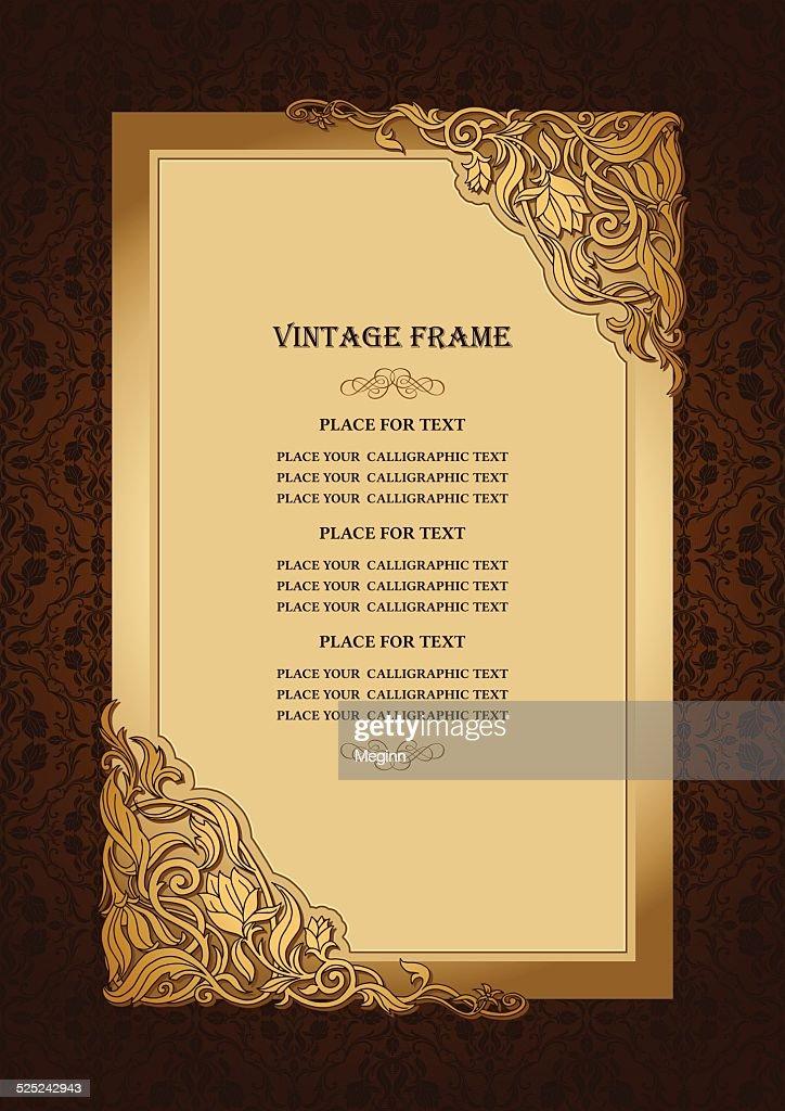 Vintage floral background with gold art frame