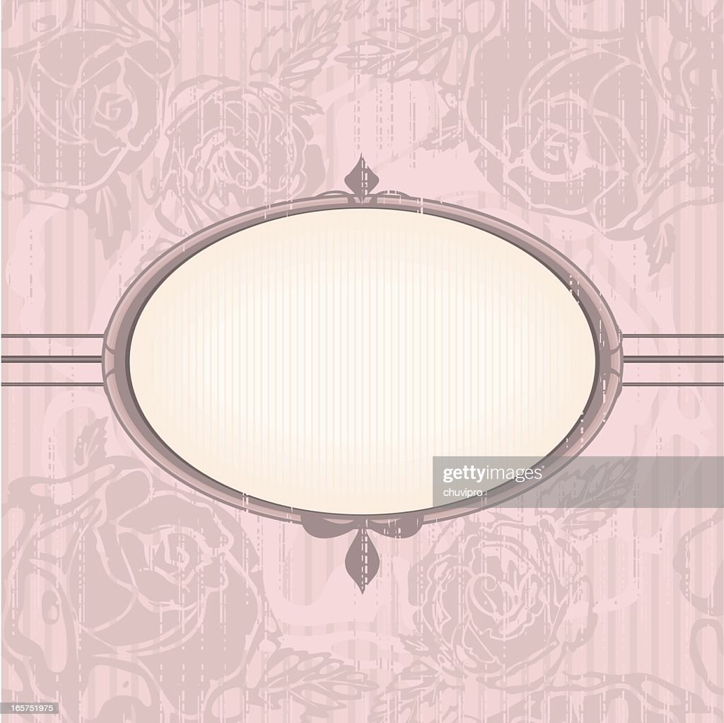 Vintage Floral Background With Oval Frame In Neutral Pink Colors