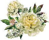 Vintage floral bouquet of peonies