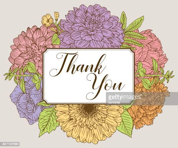 ilustraciones, imágenes clip art, dibujos animados e iconos de stock de plantilla de diseño de tarjeta floral vintage - gracias