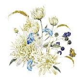 Vintage Floral Card with Chrysanthemums