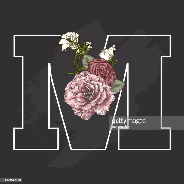 vintage floral chalk art style drop cap letter m - letter m stock illustrations, clip art, cartoons, & icons