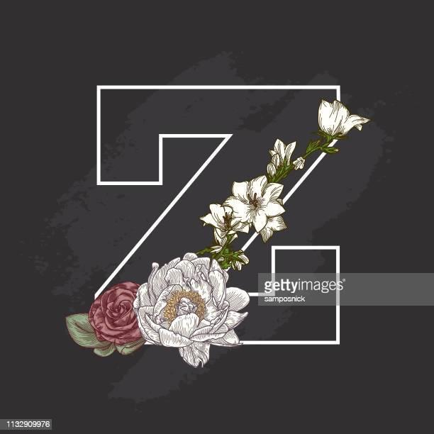 Vintage Floral Chalk Art Style Drop Cap Letter Z