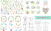 Vintage floral elements. Set of flowers, icons and decorative elements.