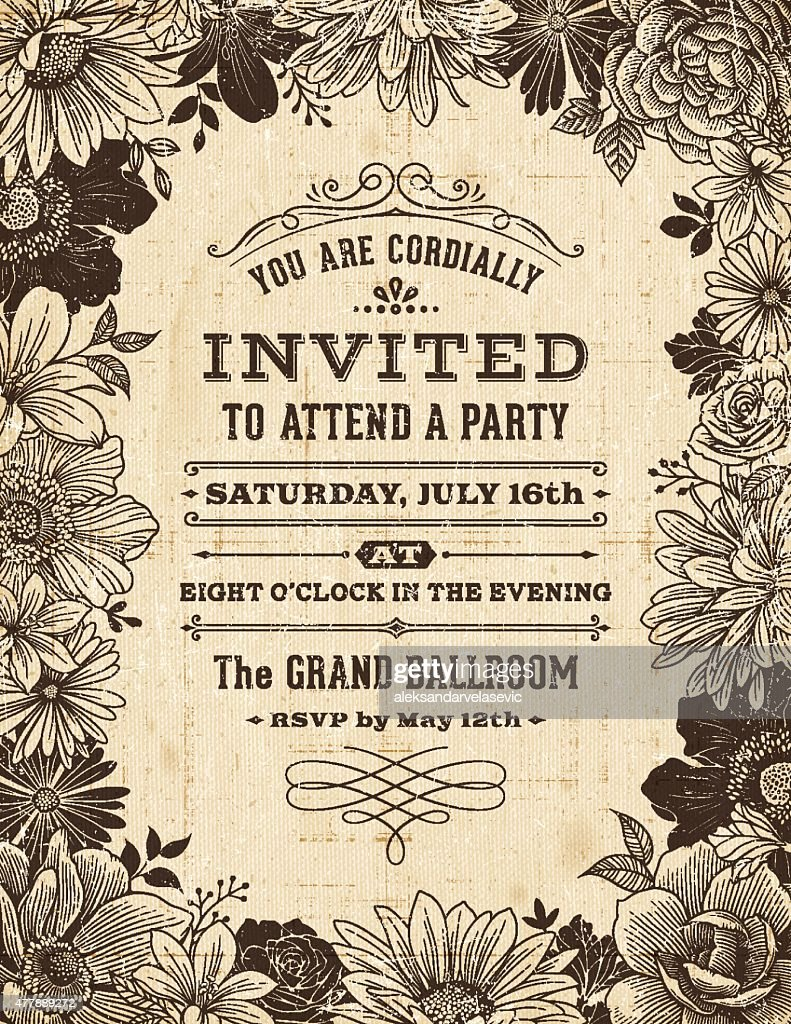 Vintage Floral Frame Invitation : Stock Illustration