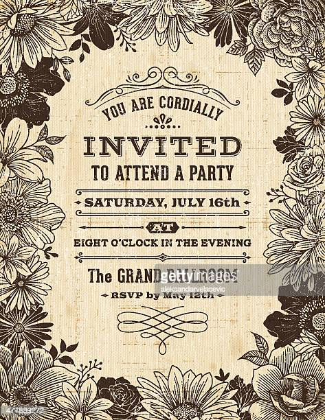 vintage floral frame invitation - victorian stock illustrations