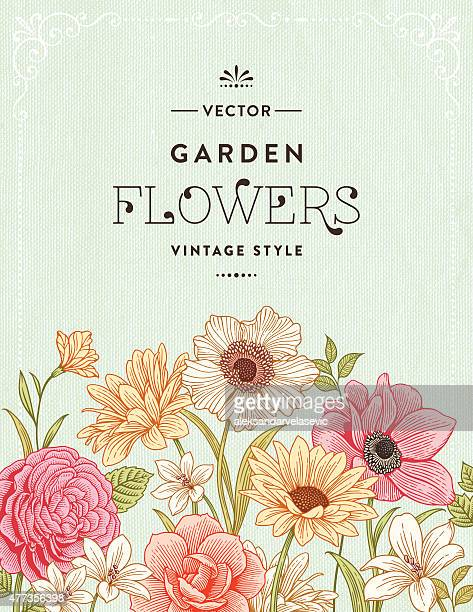 vintage floral frame - poppy stock illustrations, clip art, cartoons, & icons