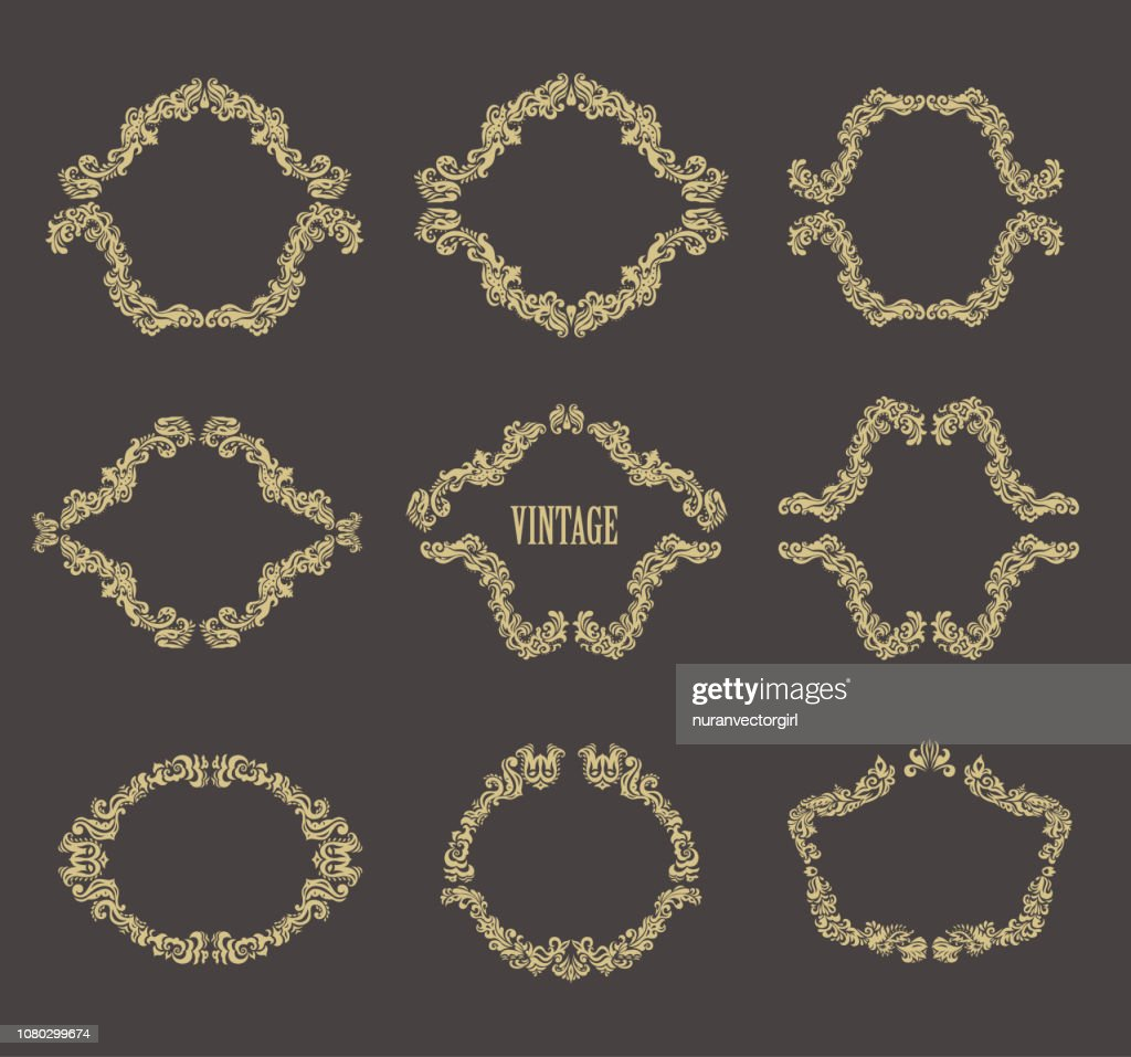 Vintage Floral Frames. Set of gold borders