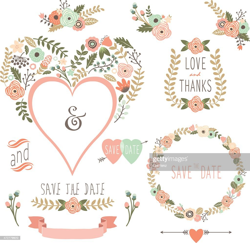 Vintage Floral Heart Shape- illustration