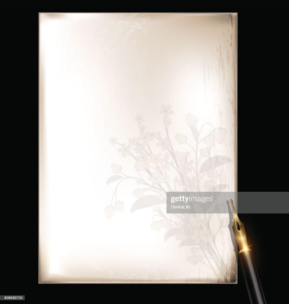 vintage floral page and bronze pen