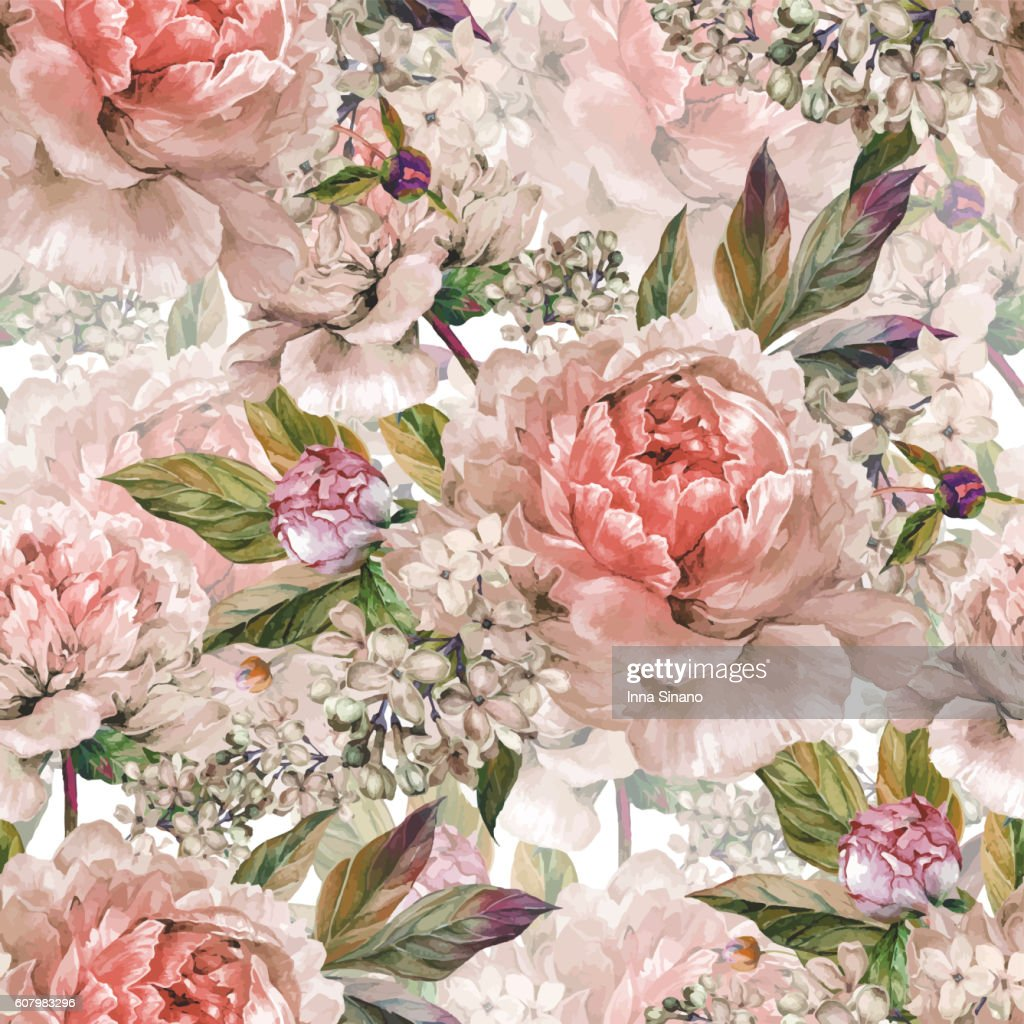 Vintage floral seamless watercolor pattern