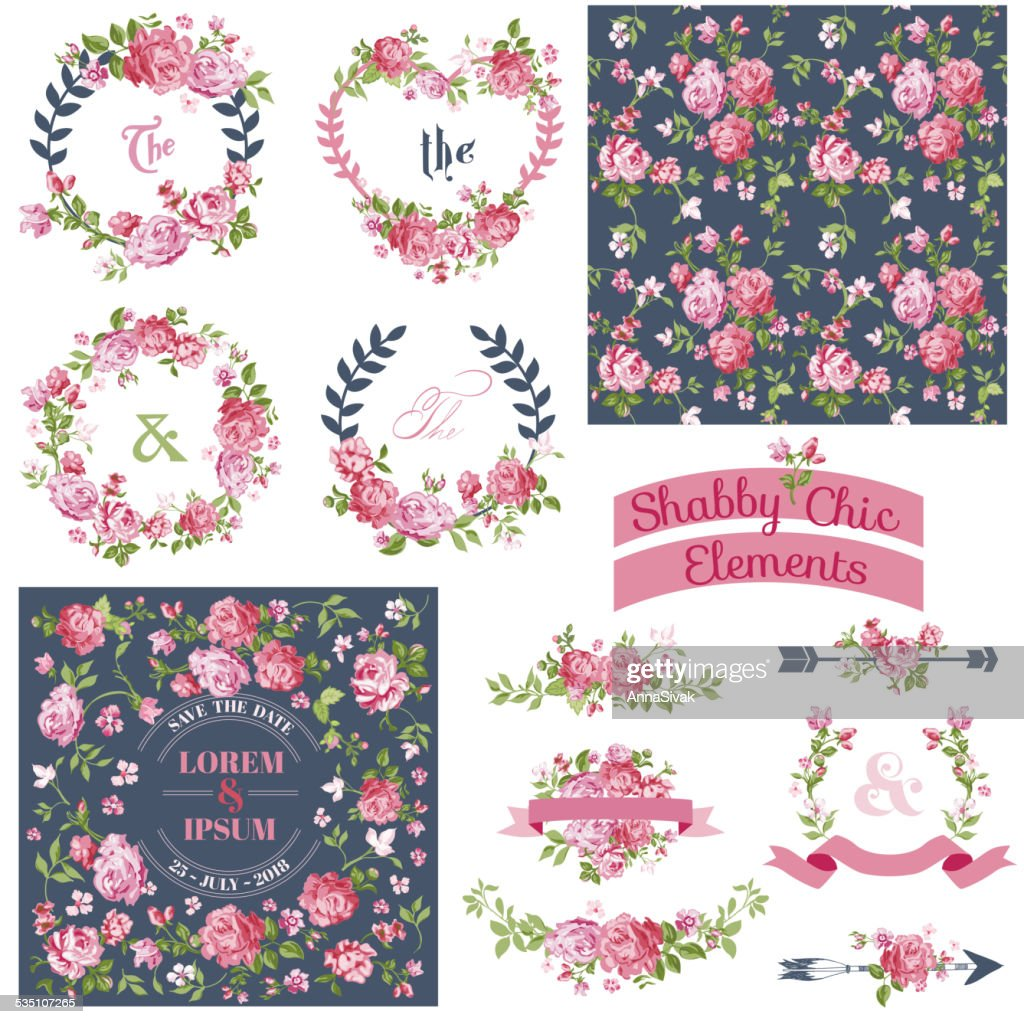 Vintage Floral Set - Frames, Ribbons, Backgrounds