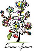 Vintage floral tree for your design