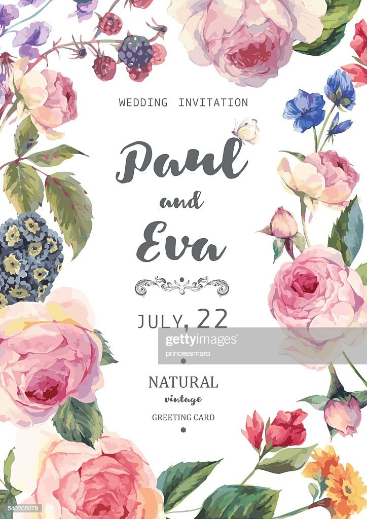 Vintage floral vector roses wedding invitation