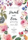 Vintage floral vector roses wedding invitation
