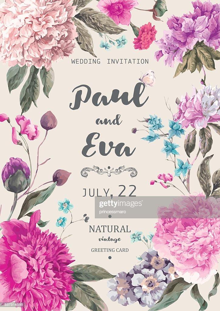 Vintage floral vector wedding invitation