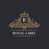 Vintage  Flourishes crest. calligraphic monogram letter R. Floral royal line frame design