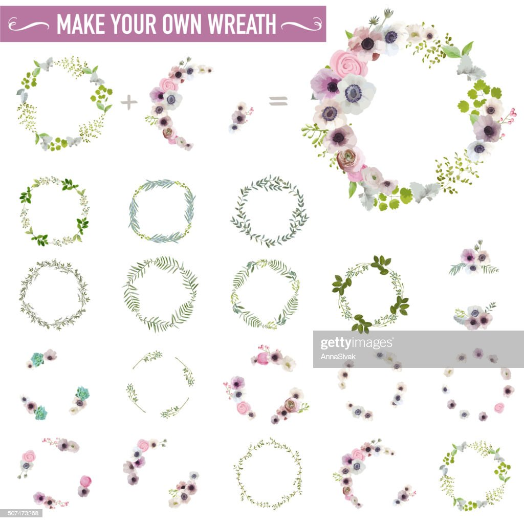Vintage Flower Wreath Set - Watercolor Style