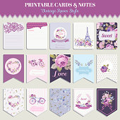 Vintage Flowers Card Set - for party decoration