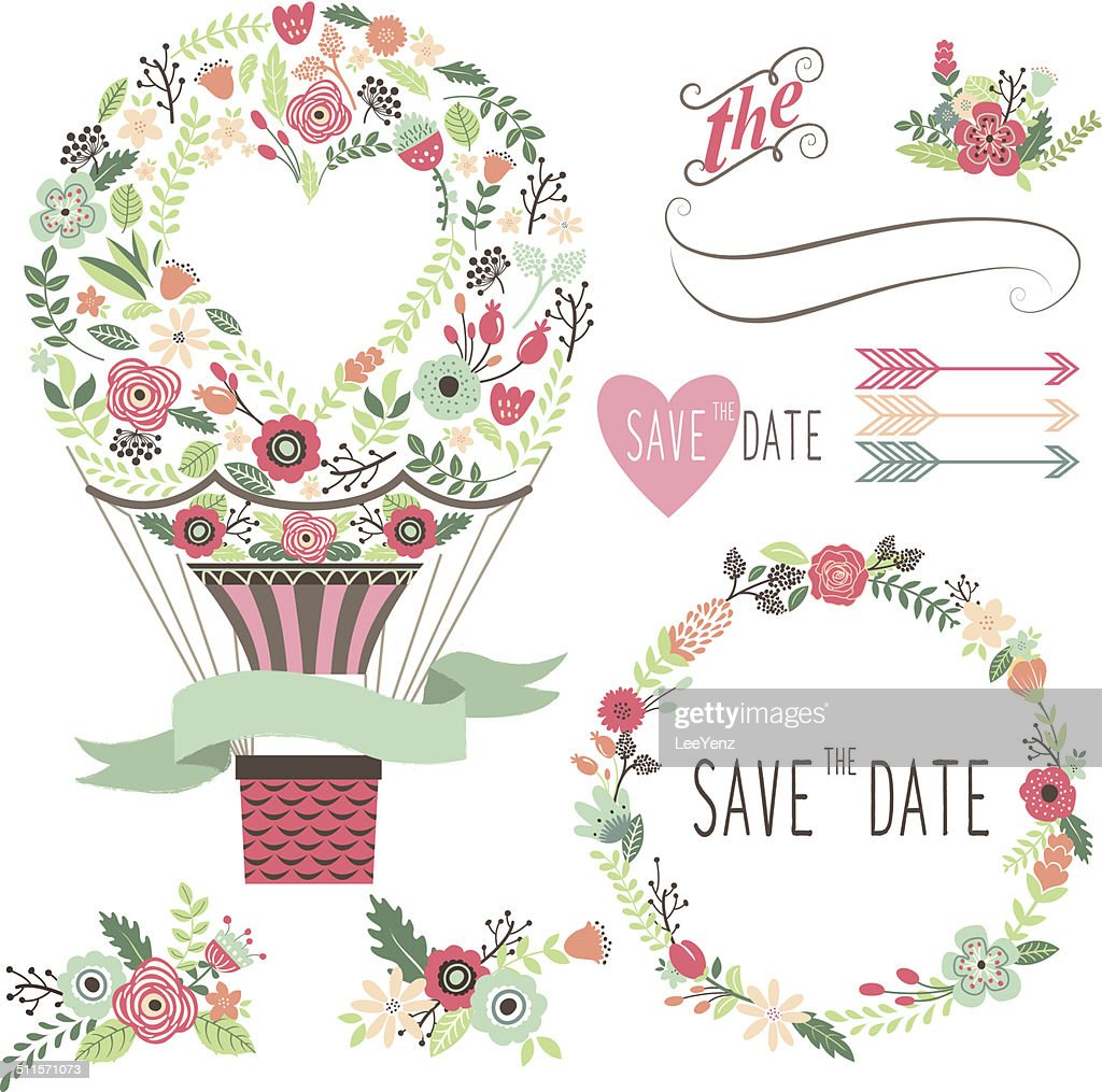 Vintage Flowers Hot Air Balloon-Illustration