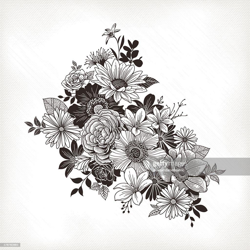 Vintage Flowers Vector Art Getty Images