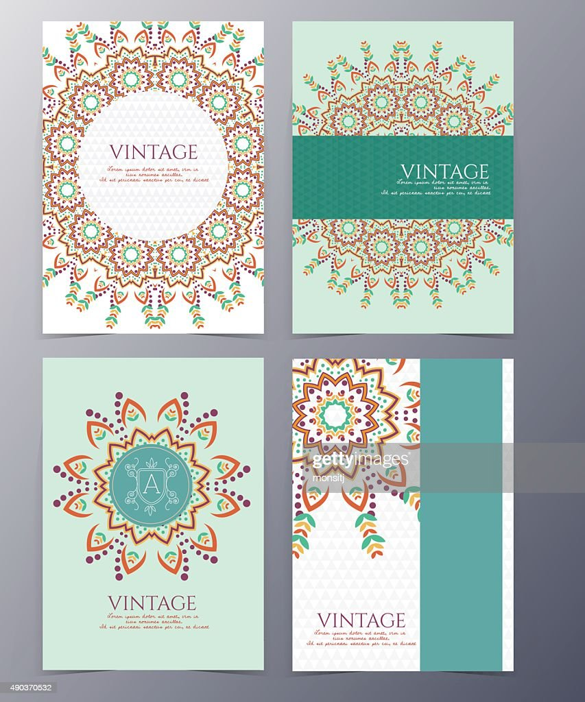 vintage flyer set vector illustration