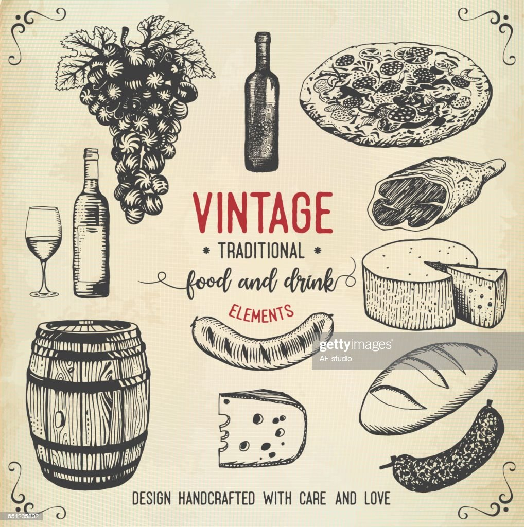 Vintage food and drink icons : stock vector