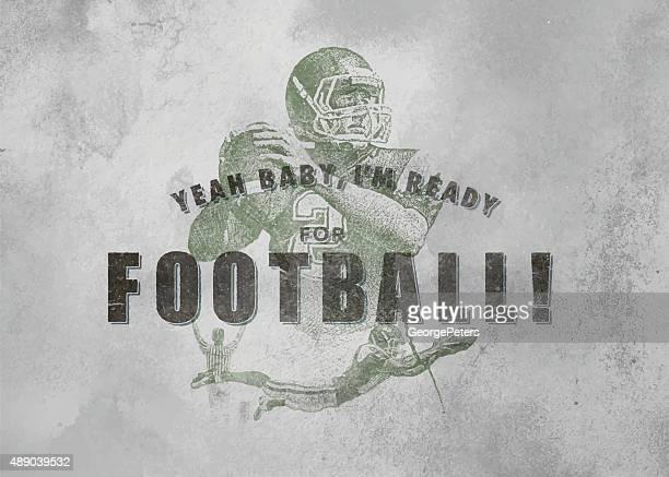 vintage football emblem with textured background - silk screen stock illustrations, clip art, cartoons, & icons