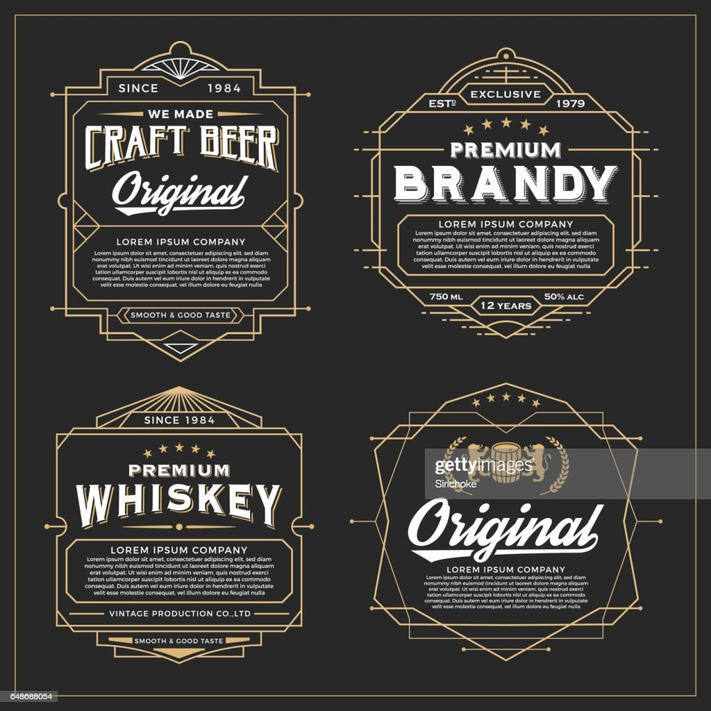 Vintage frame design for labels design