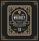 Vintage frame label for whiskey and beverage product