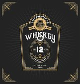 Vintage frame label for whiskey and beverage