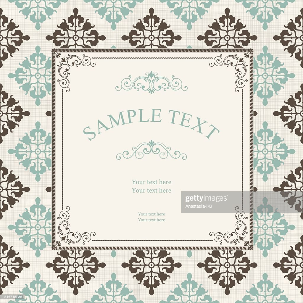 Vintage frame on seamless victorian pattern