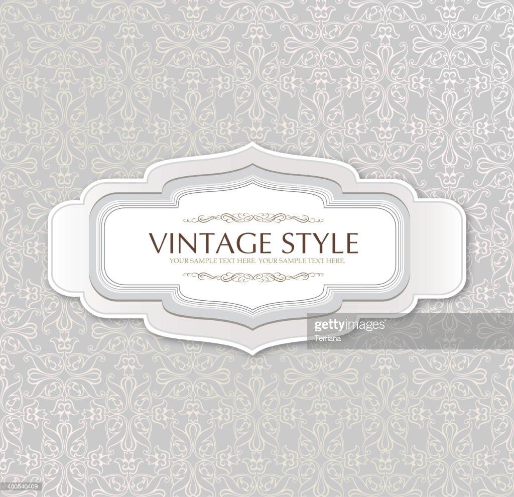 Vintage frame over seamless brocade background.
