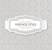 Vintage frame over seamless brocade background.