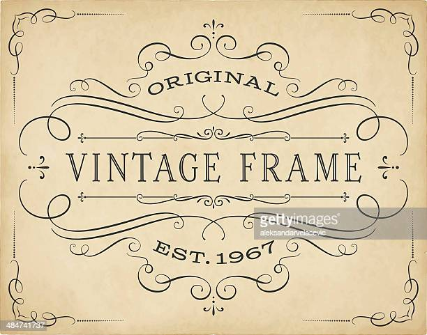 vintage frame - calligraphy stock illustrations