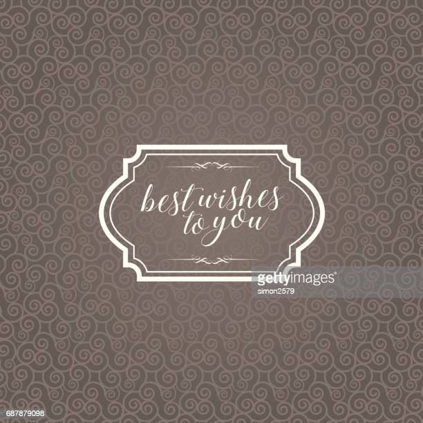 Vintage frame with brown color seamless pattern and curly lines background.